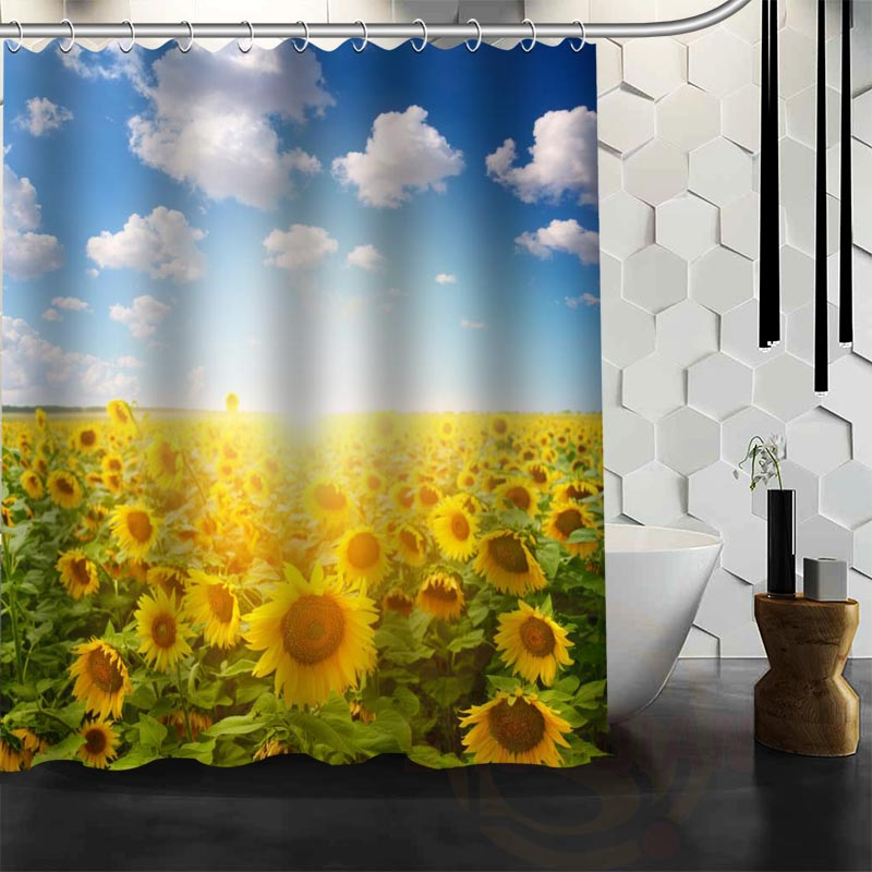 Best Nice Custom Sunflower Shower Curtain Bath Waterproof Fabric For Bathroom MORE SIZE WJY62 In Curtains From Home Garden On