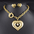 New Fashion Jewelry Set Romantic Love Heart Necklace Earring Set Rhinestone Crystal 316L Stainless Steel Jewelry HTZ017