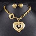 Nova Jóia Da Forma Definida Romântico Do Amor Do Coração Colar Brinco Set Strass Cristal Jóias Em Aço Inoxidável 316L HTZ017