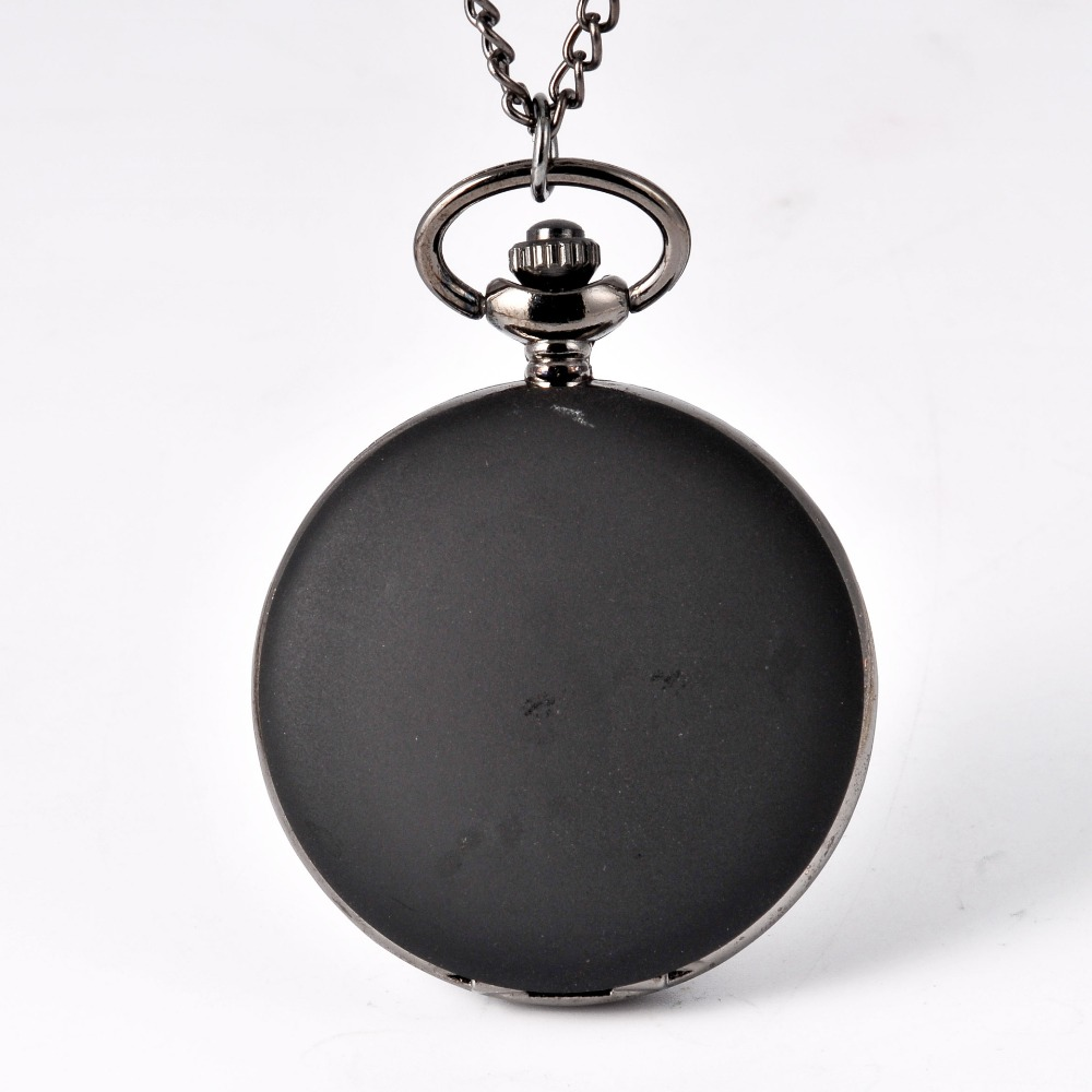 8826Retro Solid Color Simple Black Quartz Pocket Watch Men WomenSmooth Arabic Digital Display Pendant Fob Clock Gift Watch Chain