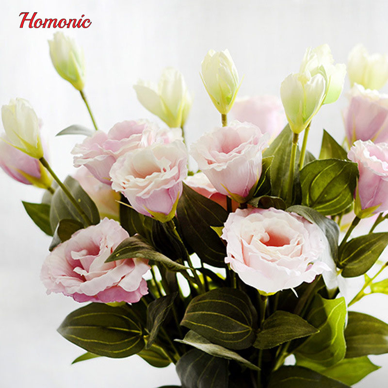1PC European Artificial Flower 3 Heads Fake Eustoma Gradiflorus Lisianthus Christmas Wedding Party Home Decorative 5 Colours