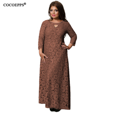 5XL 6XL 2018 New Women Long Dress Spring Summer Lace Plus Size Dress Fashion Party large size Maxi Dresses big size Girl Clothes