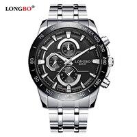Longbo Militär Sport Wathces Männer Voller Edelstahl Band Sport Quarz Armbanduhren Zifferblatt Uhr Für Dynamische Relogio Masculino