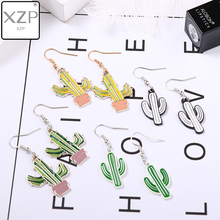XZP Coconut Tree Green Enamel Earrings Cactus Alloy Acrylic Pendant Woman Gift earrings Fashion Jewelry