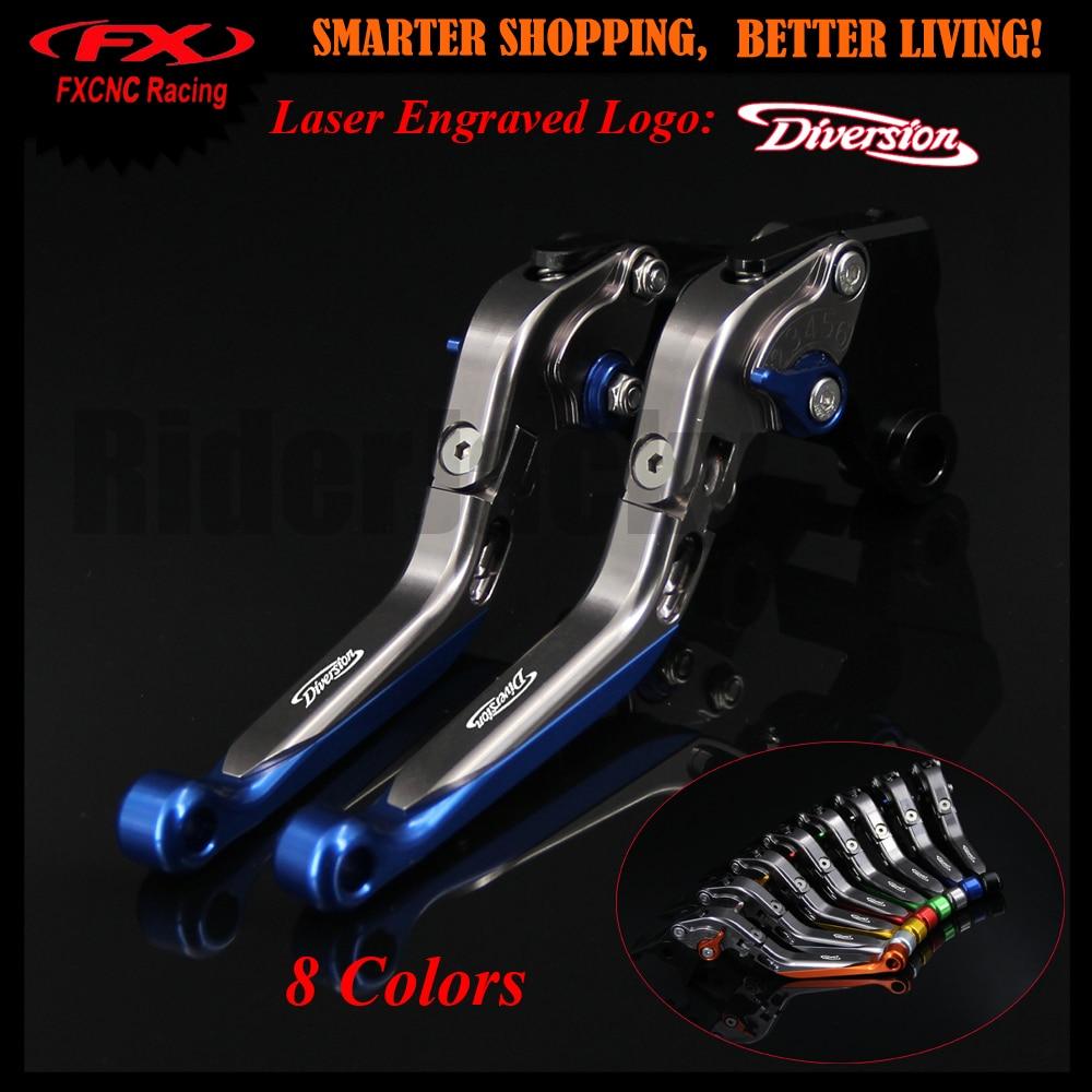 Blue+Titanium Motorcycle CNC Adjustable Brake Clutch Lever For Yamaha XJ600 N Diversion 1995-2003 1997 1998 1999 2000 2001 2002
