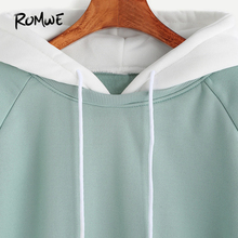 ROMWE Pale Green Patchwork Hoodie