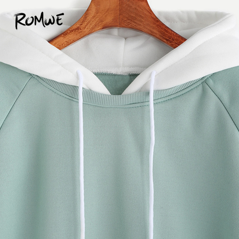 771bf2abd7 ROMWE Pale Green Patchwork Hoodie Women Raglan Long Sleeve Cute Contrast  Hooded Sweatshirt Fall Pocket Drawstring Hoodies-in Hoodies   Sweatshirts  from ...
