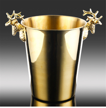 2.2L Ice Buckets Stainless Steel wine ice Bucket Wine Chiller Wine Bottle Cooler Champagne Beer Chiller Ice Barrel Silver/Gold free shipping plastic led ice bucket color changing plastic ice bucket luminous ice pail ice cooler glow beer cask wine barrel