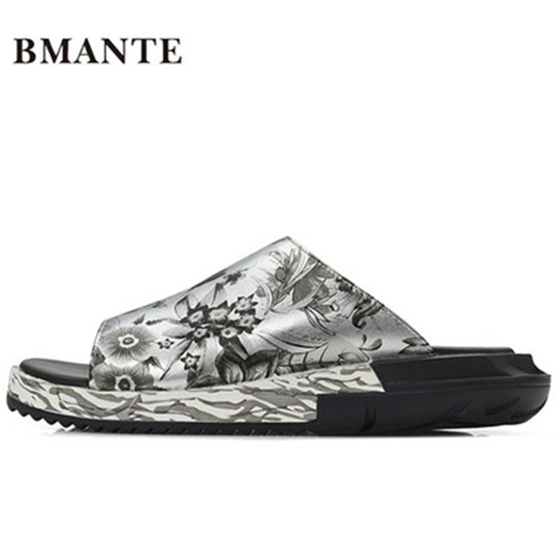 New Men Basic Beach Casual Sandal Luxury Slippers Summer Men Shoes Concise Print Popular Spring Flat Men Slippers Flower Sandals flower print flat sliders
