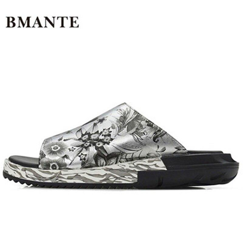 New Men Basic Beach Casual Sandal Luxury Slippers Summer Men Shoes Concise Print Popular Spring Flat Men Slippers Flower Sandals