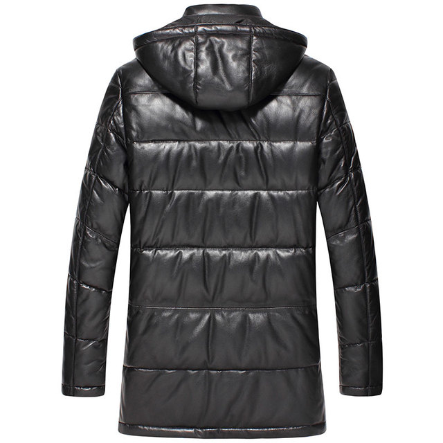 Trench coat hommes hiver vers le bas en cuir vestes Dusen Klein marque Desinger à capuche en cuir véritable peau de mouton vêtements dextérieur 5XL 71D117B