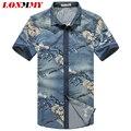 LONMMY 5XL Джинсы рубашка Цветок цветочные джинсовые рубашки мужчины с коротким рукавом slim fit Camisa социальной Высокого качества Вскользь 2016 летом