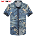 LONMMY 5XL Jeans shirt dress Flower floral denim shirt men short sleeve slim fit Camisa social High quality Casual 2016 Summer