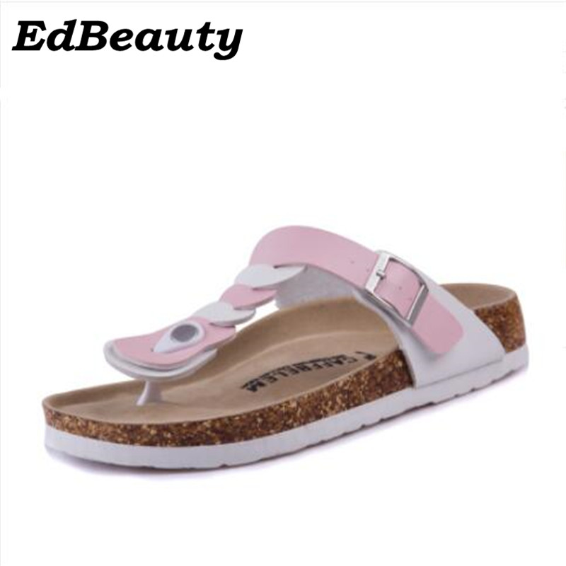 New 2016 Women Sandals Fashion Shoes Flip Flops Slippers Beach Cork Sandals Summer Slippers Rivets Slides Plus Size 35-43 2016 summer korean version of the large size flip flops women slippers with a simple slippery beach sandals