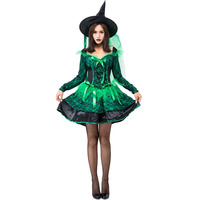Adult Women Halloween Gothic Green Magic Wicked Broom Witch Costume Fancy Lace Dress & Hat Clothing Set For Teen Girls