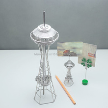 FREE SHIPMENT J32 SEATTLE'S SPACE NEEDLE WIRE MODEL TAINLESS HAND-MADE ART CRAFTS WEDDING&BIRTHDAY&HOME&OFFICE&GIFT&PRESENT