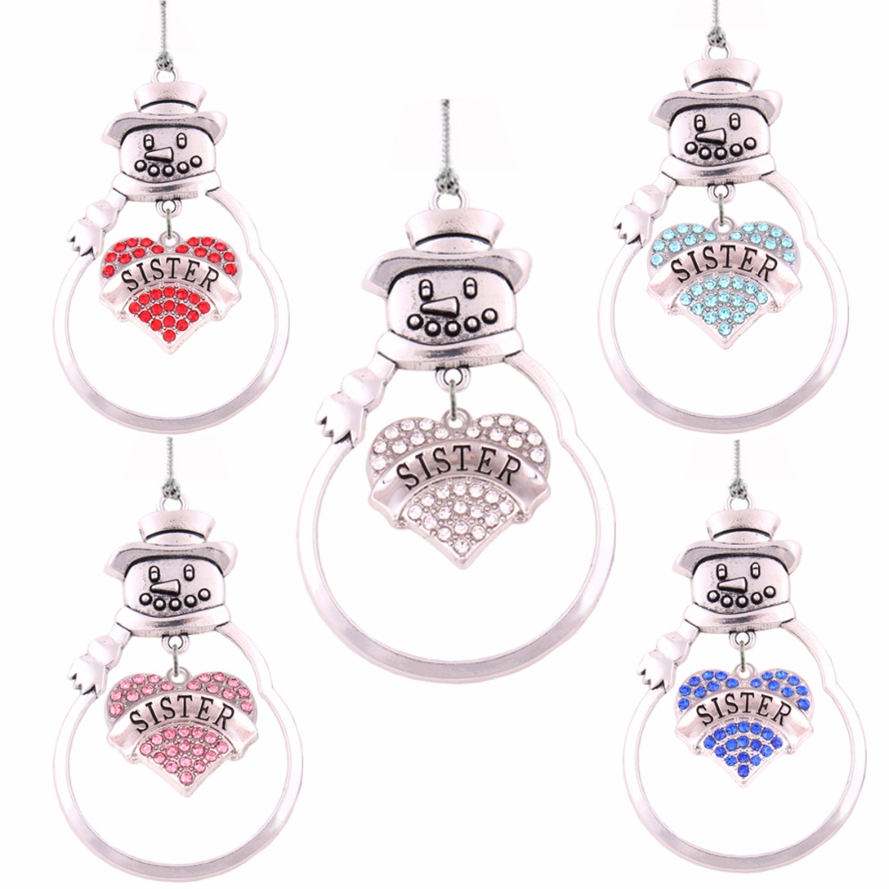 Metal heart ornaments - Christmas Gift Jewelry Center Of Metal Snowman Crystal Heart Sister Christmas Ornament Pendant Family Member Jewelry