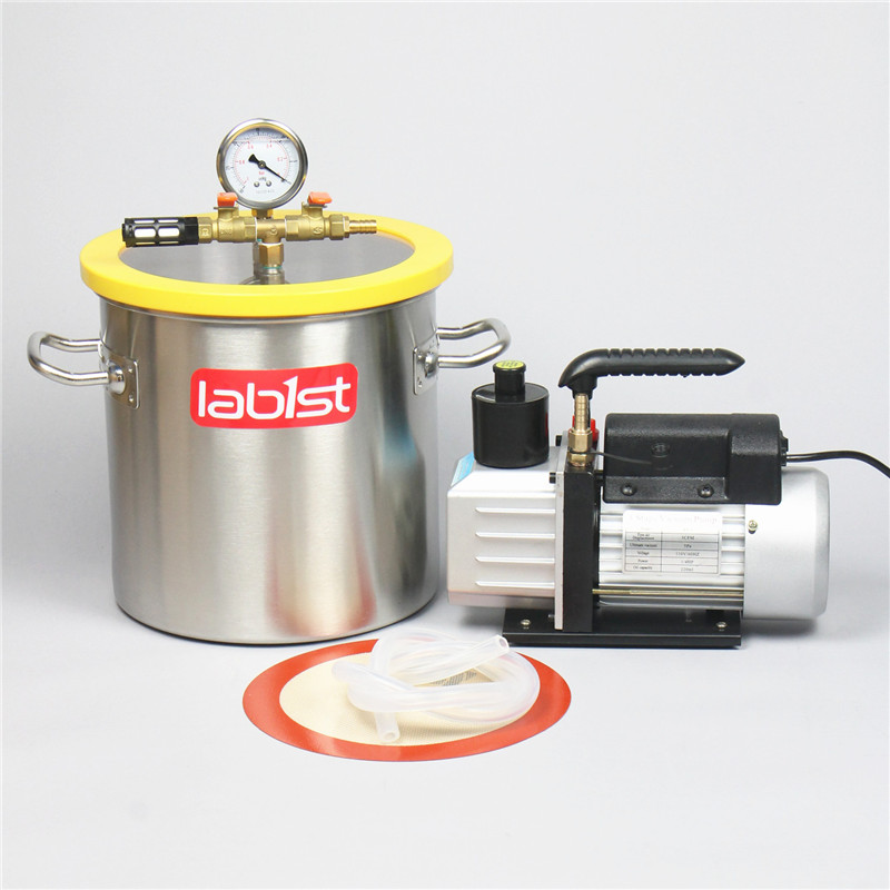 3.2 Gal (12.3L) Vacuum Chamber Kit With  2.5 CFM (1.4L/s) 220V Vacuum Pump,250mm*250mm Stainless Steel Vacuum Degassing Chamber