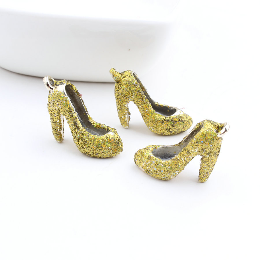 Free Shipping bling Glitter Poder Paved 3D Gold Alloy Women High Heel Shoes Pendant Charm Craft Fit Bracelet Necklace Keyring
