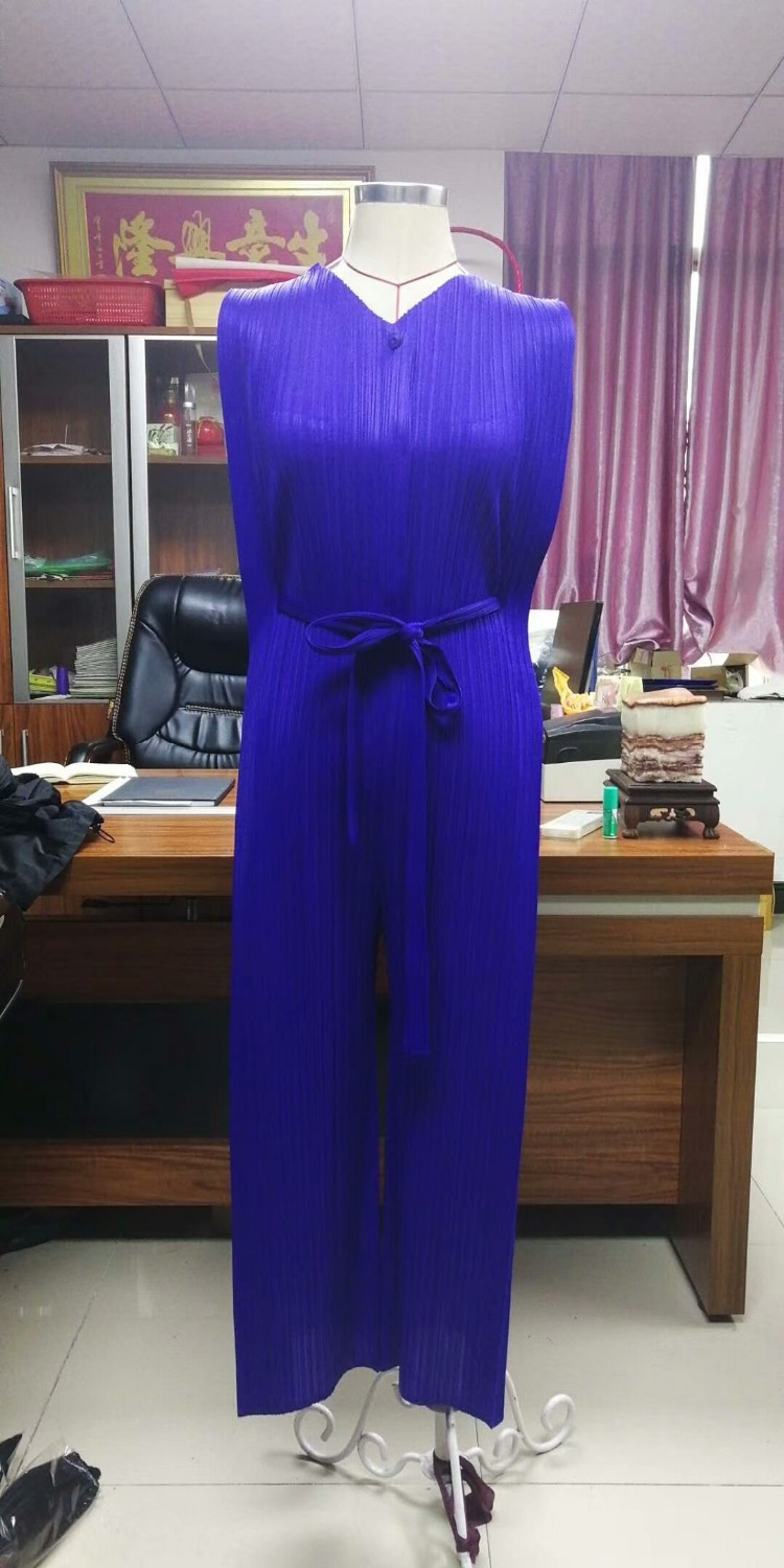 FREE SHIPPING Miyake fashion fold v-neck belt pants jumpsuits SASHES PLAYSUITS IN STOCK 3