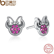 BAMOER 2016 Presents 925 Sterling Silver Red Mickey Shape Sparkling Minnie Fashion Jewelry Special Store PAS414