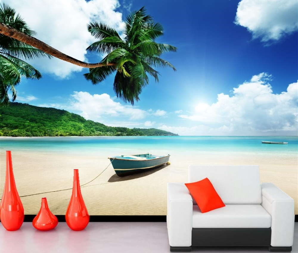 papel de parede Boats Tropics Sky Beach Nature photo palm trees wallpaper, living room sofa TV wall bedroom custom murals large mural papel de parede european nostalgia abstract flower and bird wallpaper living room sofa tv wall bedroom 3d wallpaper