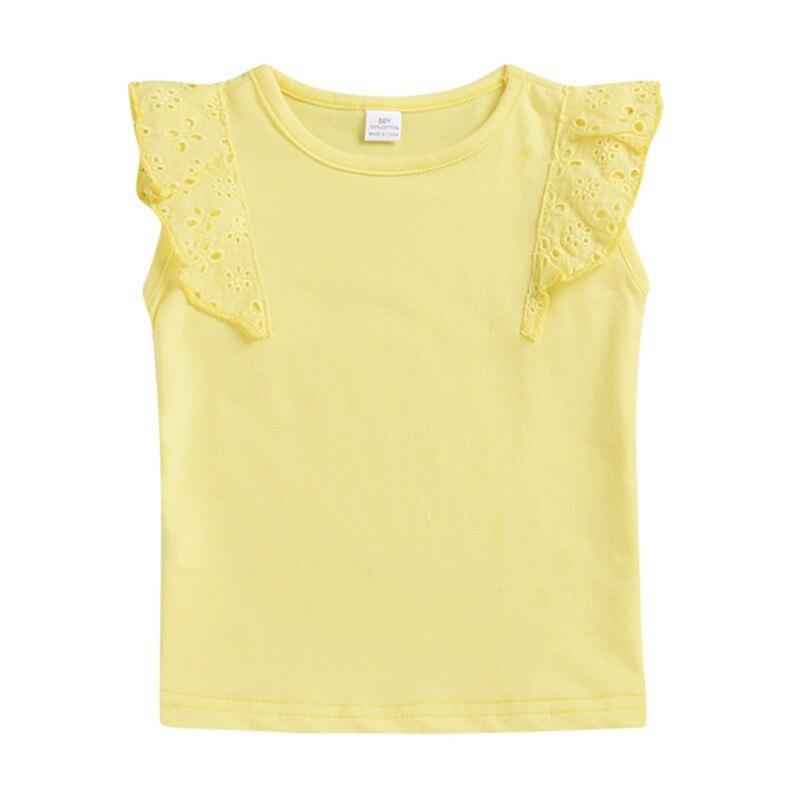 100% Kwaliteit Kids Meisjes Casual Tee Shirts Katoen Effen Print T-shirt Tops Blouse Zomer Ronde Hals Fly Mouw Tee Shirts Online Winkel