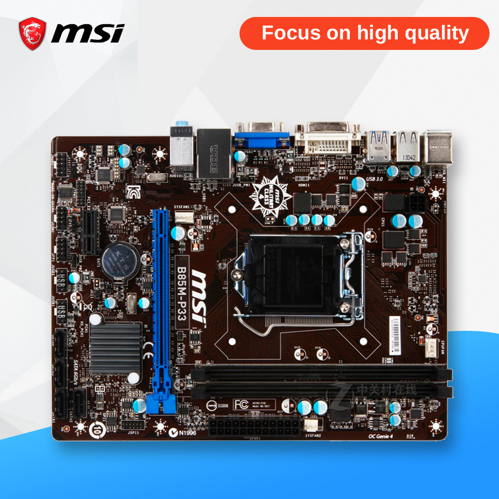 MSI B85M-P33 Original Used Desktop Motherboard B85 Socket LGA 1150 i3 i5 i7 DDR3 32G SATA3 USB3.0 Micro-ATX asus b85m e desktop motherboard b85 socket lga 1150 i3 i5 i7 ddr3 32g atx uefi bios original used mainboard on sale