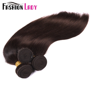 Image 5 - Fashion Lady Pre Colored Brazilian Hair Straight Hair Bundles 3/4 Bundles Dark Brown Color #2 Human Hair Extensions Non Remy