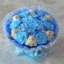 Fashion Creative Cartoon Bouquet Stuffed Animal Plush Toys Teddy bear+Simulation Flower Bouquet Bride Holding Flower