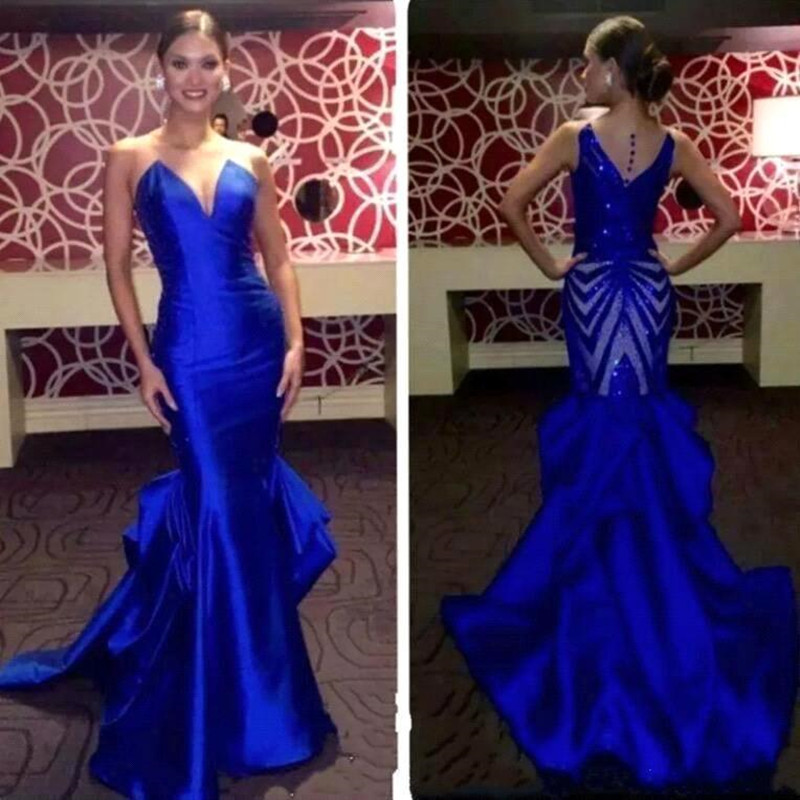 Sexy Backless Mermaid Long   Prom     Dresses   2019 Elegant Royal Blue Satin Evening Party   Dresses   with Ruffles Vestido de Festa