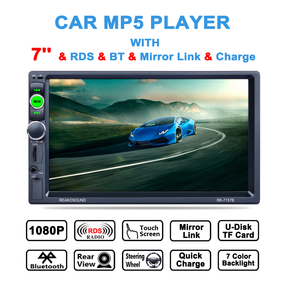 2 Din Car MP5 Player 7 inch 1080HD Touch Screen Bluetooth Car Stereo Radio Player FM/MP4/USB/AUX Car support rear view camera 2 din support rear camera car bluetooth gps 7 inch radio touch screen stereo mp4 mp5 player usb 8g map card selection