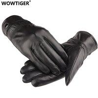 Wowtiger新しい革冬guantes暖かいシープスキン手袋男性革手袋シンプル防ぐ冷たい手袋用男