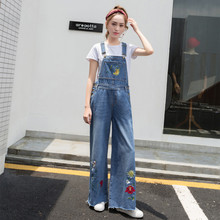 8b417ffcea43 2018 High Waist Floral Embroidery Cute Jeans Women Bleached Scratched  Overalls Washed Vintage Trousers Preppy Loose