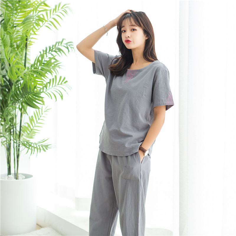 New Cotton Linen Cool Comfortable   Pajama     Set   Short Sleeve Trousers Pijama Mujer Summer Solid Home Clothes Sexy Couple Sleepwear
