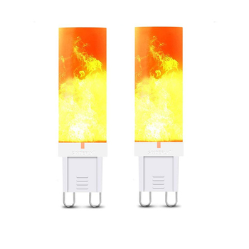 FUNN-G9 Flame Bulb Three Flame Modes Flickering Flame Bulb - 2 Pack - 4W Fire Effect Bulb for Christmas Halloween Patio Decora image
