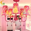 Fashion children modern crystal chandelier cartoon kids girl princess prink bedroom chandelier Led lamp