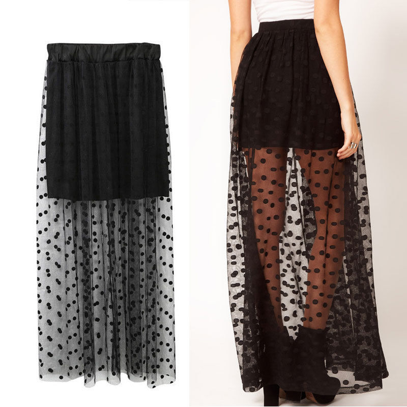 2018 New Women Mesh Dot Skirts Summer High Waist Two Fake Piece Skirts See Through Black Maxi Tulle Lace Long Skirts One Size