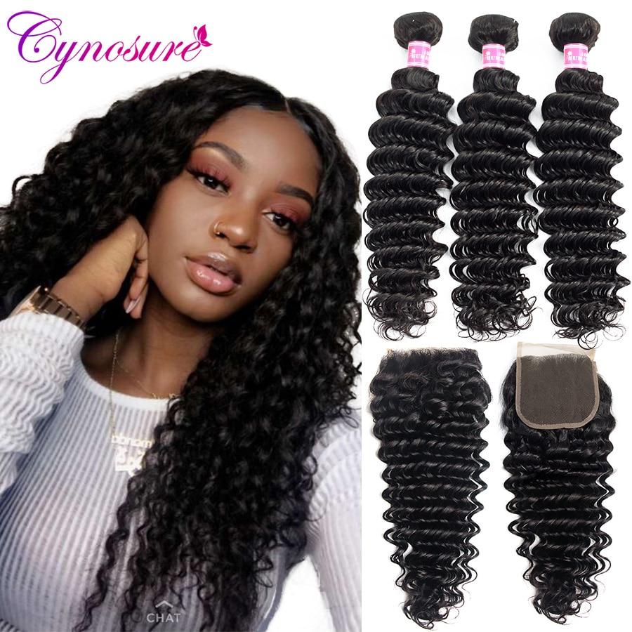 Cynosure Deep Wave Bundles with Closure Wet and Wavy Remy Human Hair 3 Bundles with Closure Mink Brazilian Hair Weave Bundles(China)