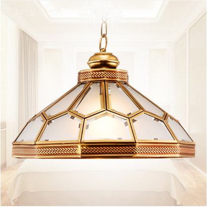 ФОТО Mordern classical copper&frosted glass Pendant lights Handwork soldering E27 LED indoor lamp for porch&pavilion&stairs BRSDD014