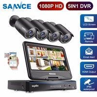 SANNCE FHD 1080P CCTV Camera System 5 in 1 4CH Video Surveillance DVR with 10.1 LCD and 4pcs Outdoor Security Camera CCTV Kit