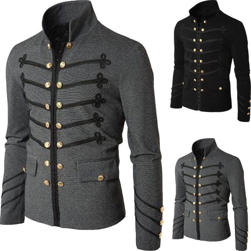 Adult Men Autumn Casual Slim Fit Double Breasted Button Steampunk Jacket Suit Blazer Vintage Stand Collar Coat Outwear For Men