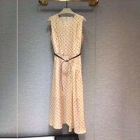 Элегантное платье для женщин без рукавов в горошек женское платье 2019 Новое весеннее женское длинное платье