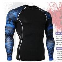 Neue Mode Compression T-Shirt für Männer MMA 3D Printing Langen Ärmeln Tops Männlich Bodybuilding Workout Sim Fitness Kleidung