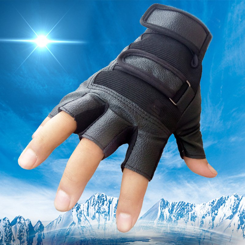 цена на Leather half-finger gloves slip Korean men's fall and winter PU Army fans fitness sports