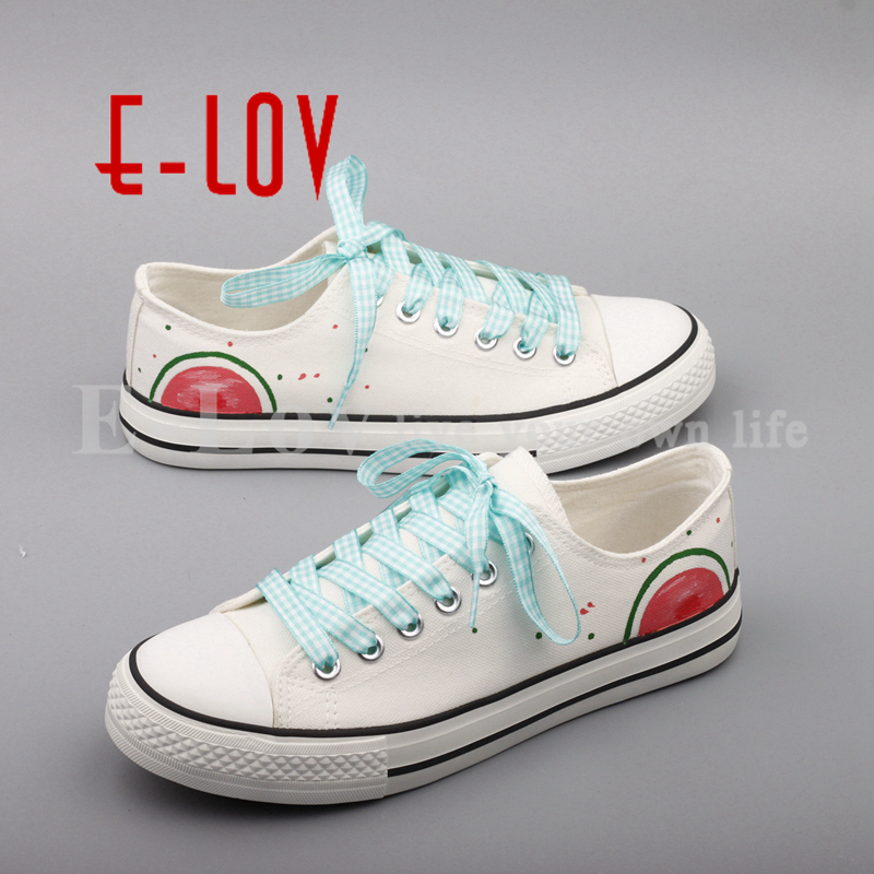 E-LOV 2017 Simple Style Hand Painted White Canvas Shoes Watermelon Graffiti Fruit Casual Flats Shoe tenis feminino e lov unique design taurus horoscope luminous canvas shoes women diy graffiti couples lovers casual flats zapatillas mujer