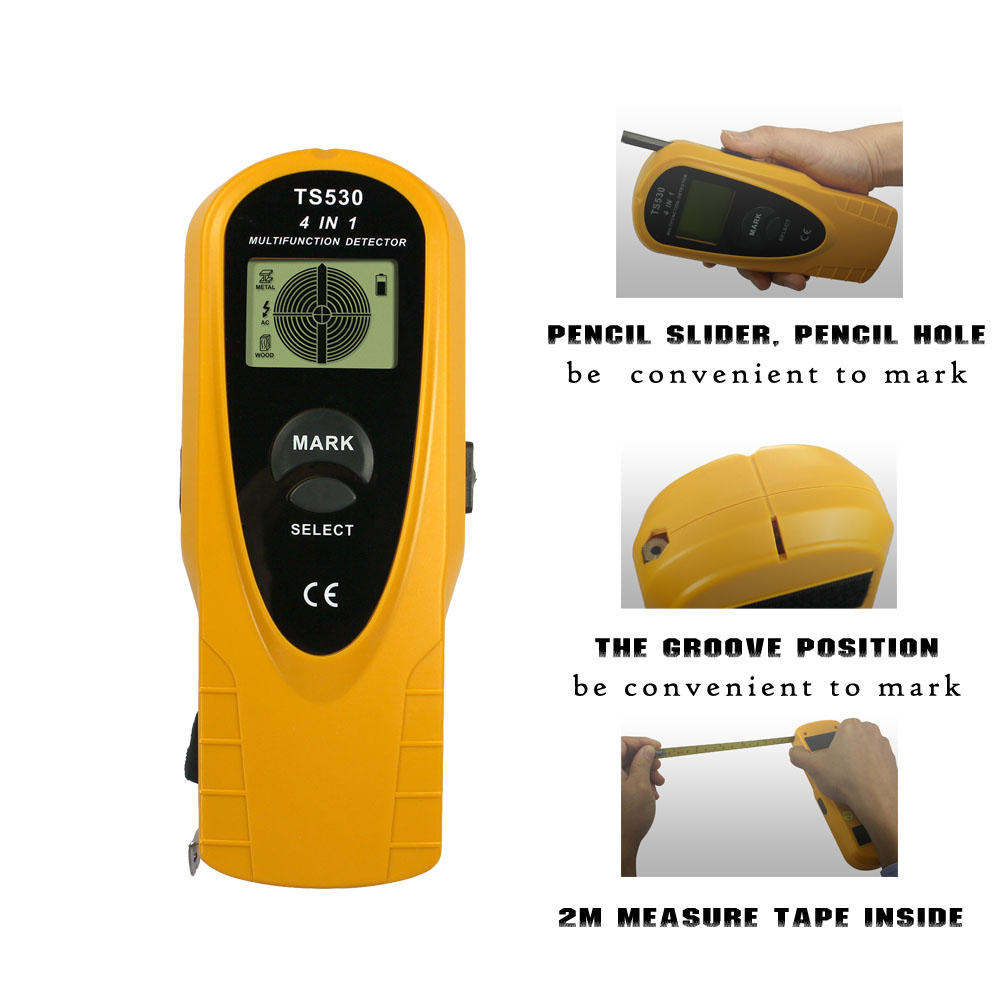 4 in 1 Super Detectors Stud Center Finder search Metal and AC voltage/stud Spotlight&Groove 2m measure tape inside all sun TS530