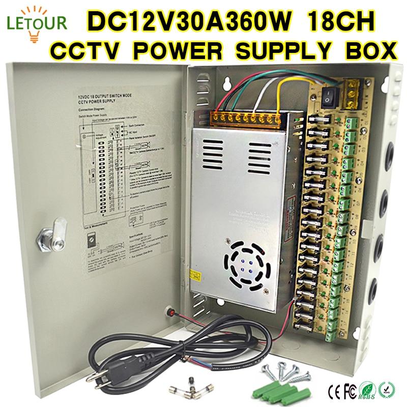 18CH DC 12V 30A CCTV Power Supply Box 360W Camera Centralized Power AC 110V~220V TO DC 12V with Lightning Protection CE FCC Cert цена