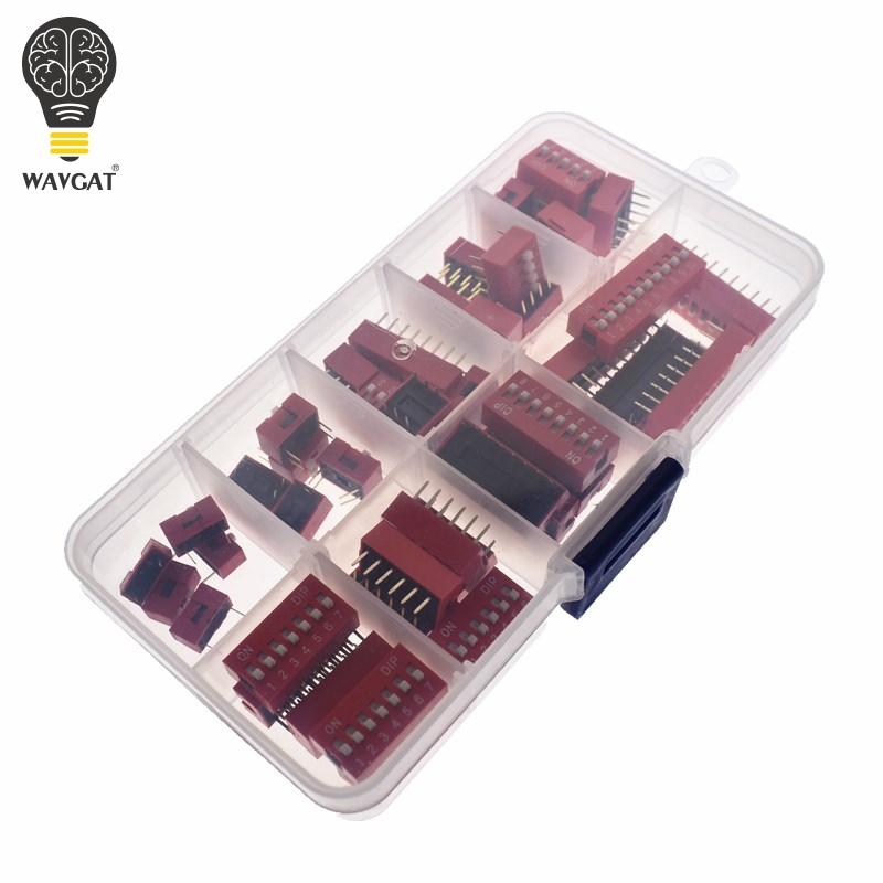 WAVGAT Dip Switch Kit In Box 1 2 3 4 5 6 7 8 10 Way 2.54mm Toggle Switch Red Snap Switches Mixed Kit Each 5PCS Combination Set