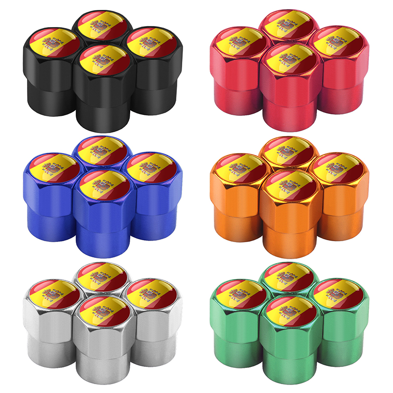 5pcs/lot Car Style Spain Flag Car Wheel Tyre Tire Stem Air Valve Cap Airtight Cover For Car Decoration Cars Accessories
